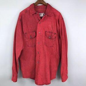 🔥 VTG Calvin Klein Blue Jeans Red Dyed Shirt